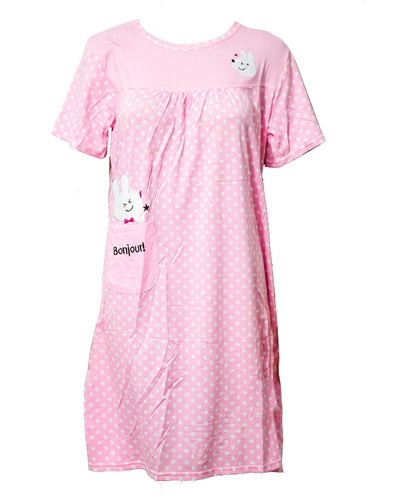 Baby Pink Long Nighty White Dotted & Side Pocket 103 -  Women Nightdress
