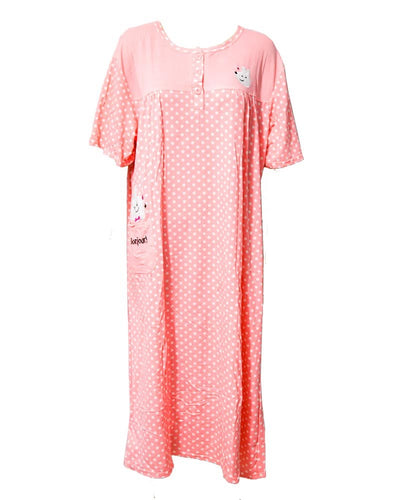Pink Long Nighty White Dotted & Front Button 903 -  Women Nightdress