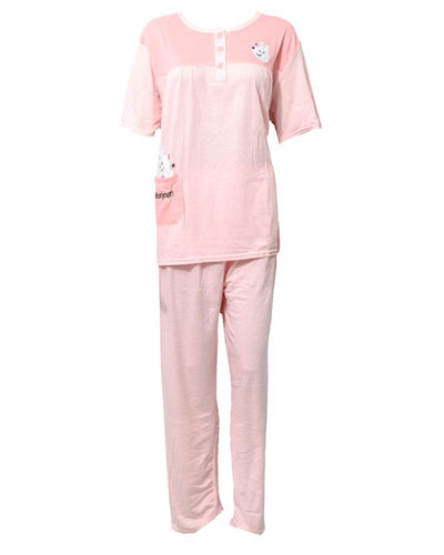Pink 2 Pcs Nightdress For Girls Plained & Front Button 701 - Women Nightdress