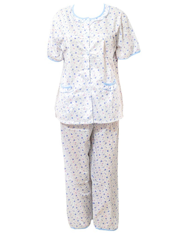 White Tiny Flower Printed 2 Pcs Pocket Nightdress For Girls Front Open
