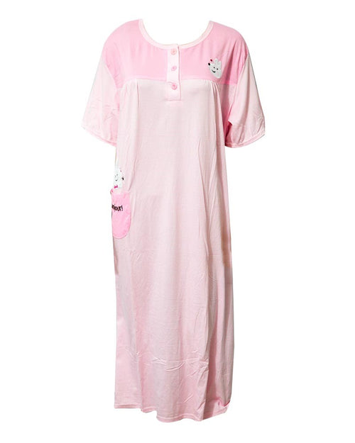 Baby Pink Long Nighty Plained & Side Pocket,Front Button 901 -  Women Nightdress