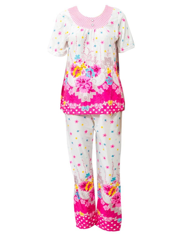 White With Red Flower Printed Nightwear Suit 2Pc - 25.1 Women Nightdress