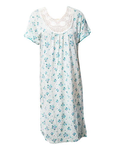 Stylish White Long Nighty With Flower Print 111.9 - Women Nightdress