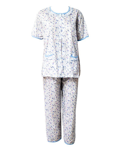 White With Blue Printed Nightwear Suit 2Pc -11.23 Women Nightdress
