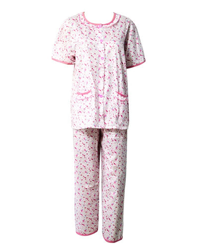 White With Pink Printed Nightwear Suit 2Pc -11.23 Women Nightdress