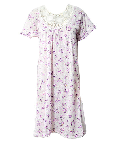 Stylish White Long Nighty With Purple Flower Print 111.9 - Women Nightdress