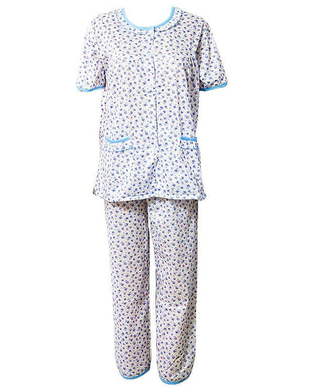Printed White & Blue Nightwear Suit 2Pc -11.2 Women Nightdress