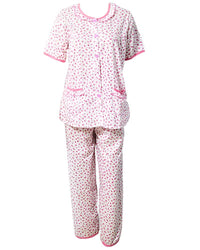 Printed White & Red Nightwear Suit 2Pc -11.2  Women Nightdress