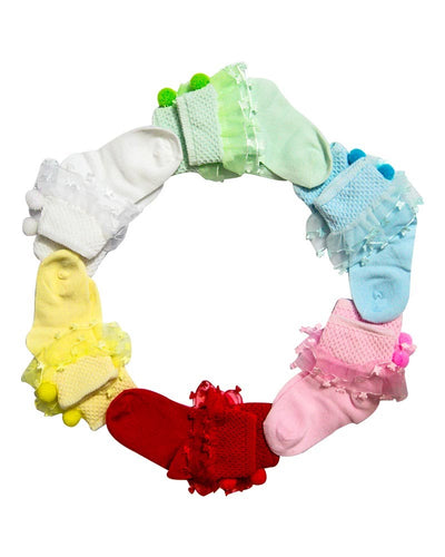 Pack of 3 Baby Girls Stylish Socks for 0 – 2 Years – Kids Colourful Socks