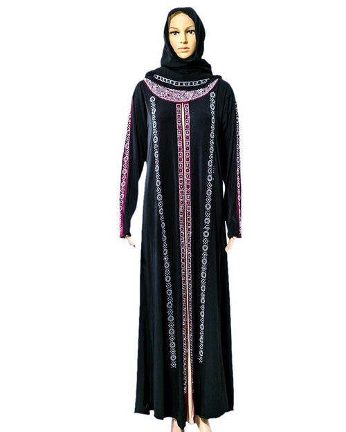 Stylish Jersey Abaya & Hijab With Dimond Stones - Pakistani Tradition
