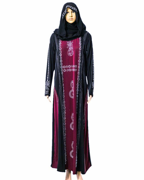 Fancy Jersey Abaya & Hijab With Dimond Stones - Pakistani Tradition