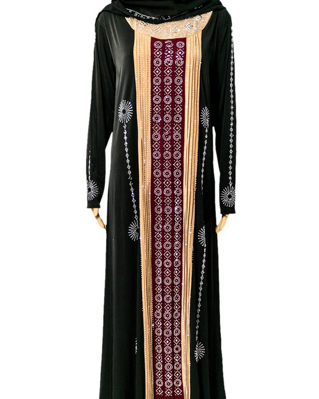 Designer Jersey Abaya & Hijab With Dimond Stones - Pakistani Tradition