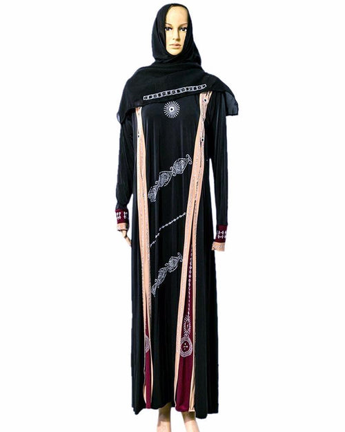 2018 Designs Jersey Abaya & Hijab With Dimond Stones - Pakistani Tradition