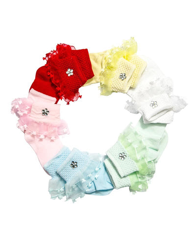 Pack of 3 Baby Girls Socks for 0 – 2 Years – Kids Colourful Socks