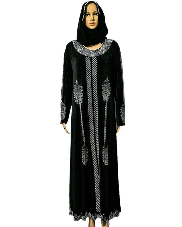 Newly Designed Jersey Abaya & Hijab With Dimond Stones - Pakistani Tradition