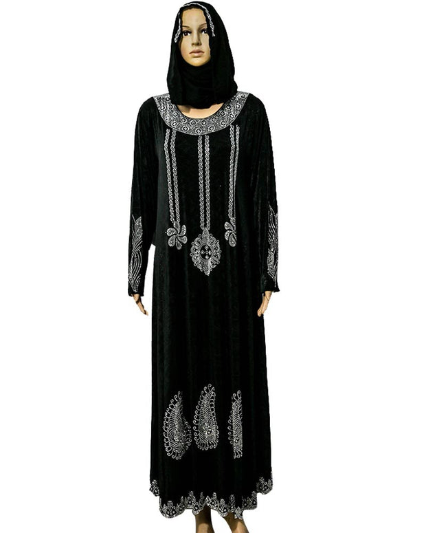 Pakistani Tradition Jersey Hijab & Abaya With Dimond Stones