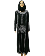 Fancy Jersey Hijab & Abaya With Dimond Stones
