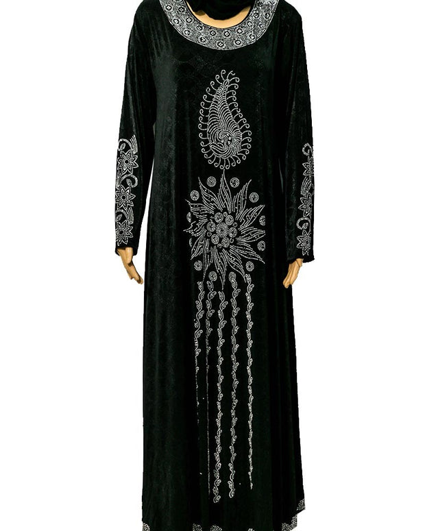 Fancy Jersey Abaya & Hijab With Dimond Stones
