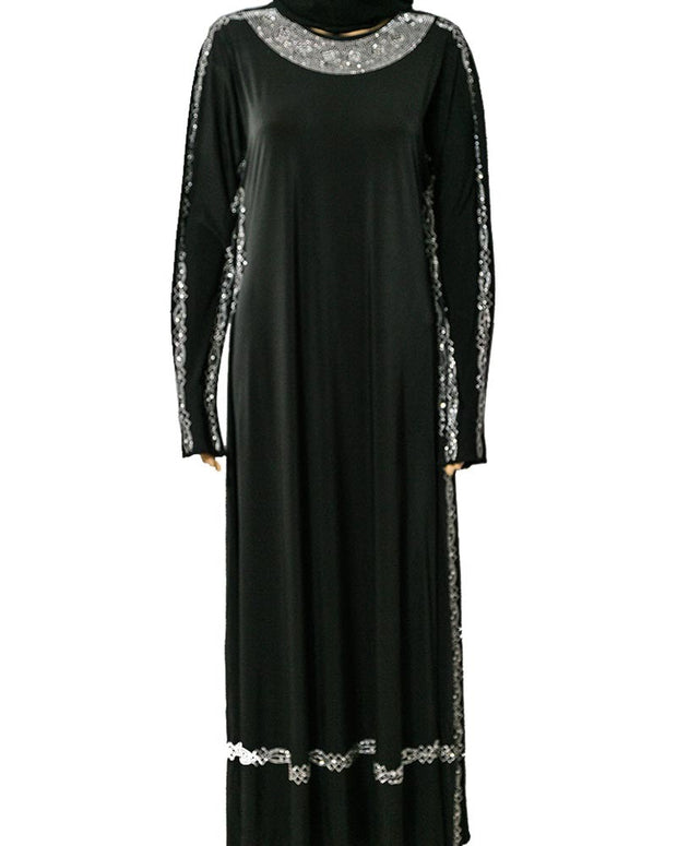 Stylish & Fancy Jersey Abaya & Hijab With Dimond Stones