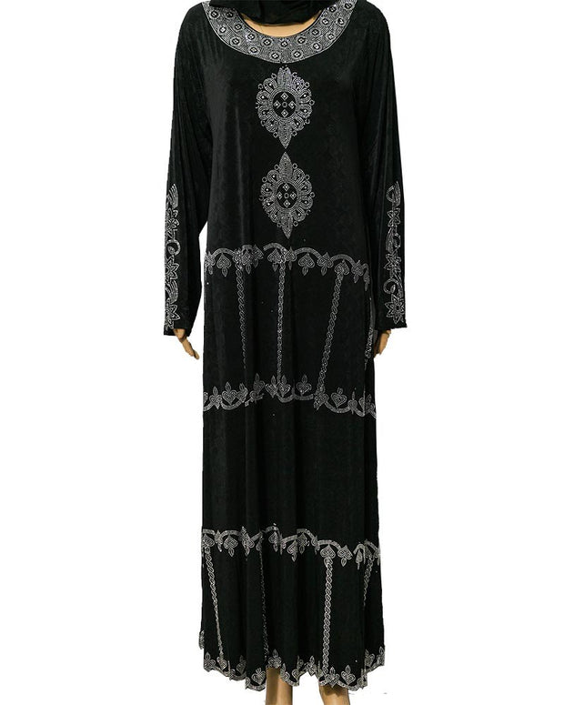 Fancy Jersey Abaya & Hijab With Shiny Crystals