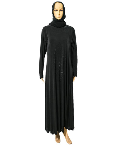 Fancy & Stylish Jersey Abaya & Hijab With Black Crystals