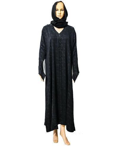 New Fancy Satin Abaya & Hijab Front Open With Shiny Crystals