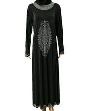 Stylish Jersey Abaya & Hijab With Crystal Stone