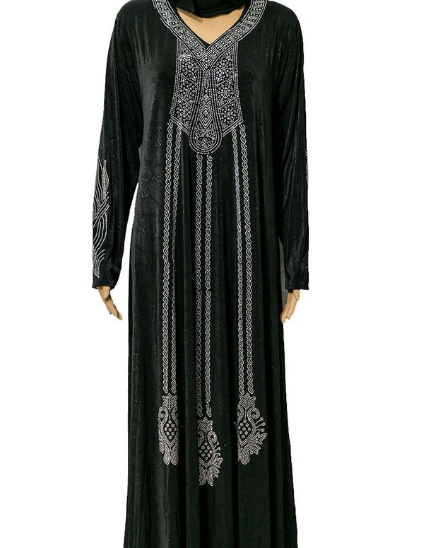 Fancy Stylish Jersey Abaya & Hijab With Dimond Stones
