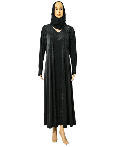 Stylish & Fancy Jersey Abaya & Hijab With Black Crystals