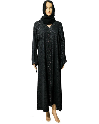 New Stylish Satin Abaya & Hijab Front Open With Shiny Crystals