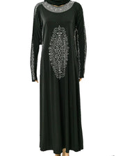 New Fancy Jersey Abaya & Hijab With Shiny Crystals