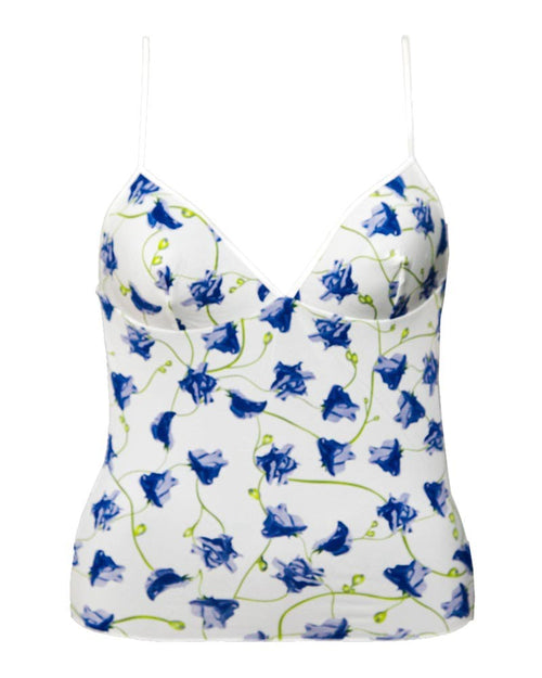 Blue Flower Printed Casual Wear White Camisole