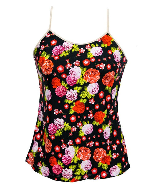 Fancy Flower Printed Casual Wear Black Camisole