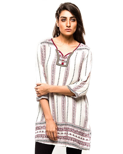 White Stylish Printed Lawn Stitched FL2150A Kurtis - For Girls