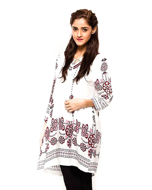 White Fancy Printed Lawn Stitched Kurtis FL-2156B-2 - For Girls