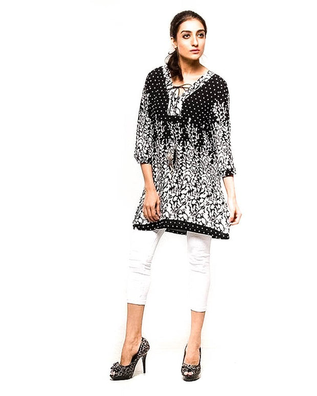 Black Dotted Fancy Digital Printed FL-2159A Lawn Stitched Kurtis - For Girls