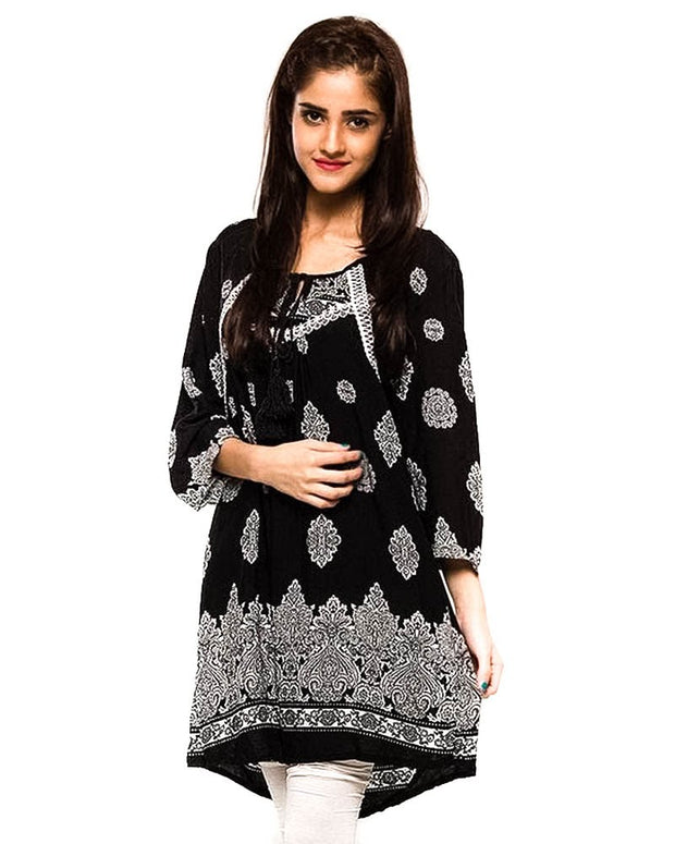 Black Fancy Digital Printed Lawn Stitched Kurtis Fl2154A - For Girls