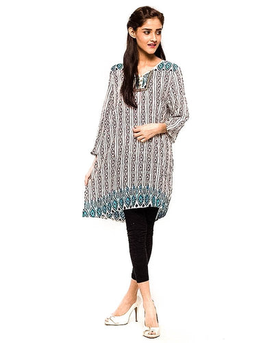 Multi Coloured Fancy Digital Printed Lawn Kurti FL2150B - For Ladies - Stitched