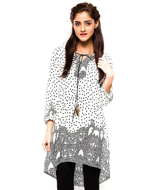 White Fancy Digital Printed Lawn Kurti Fl2159B - For Ladies - Stitched