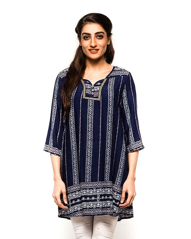 Blue Fancy Digital Printed Lawn Kurti FL2150A - For Ladies - Stitched