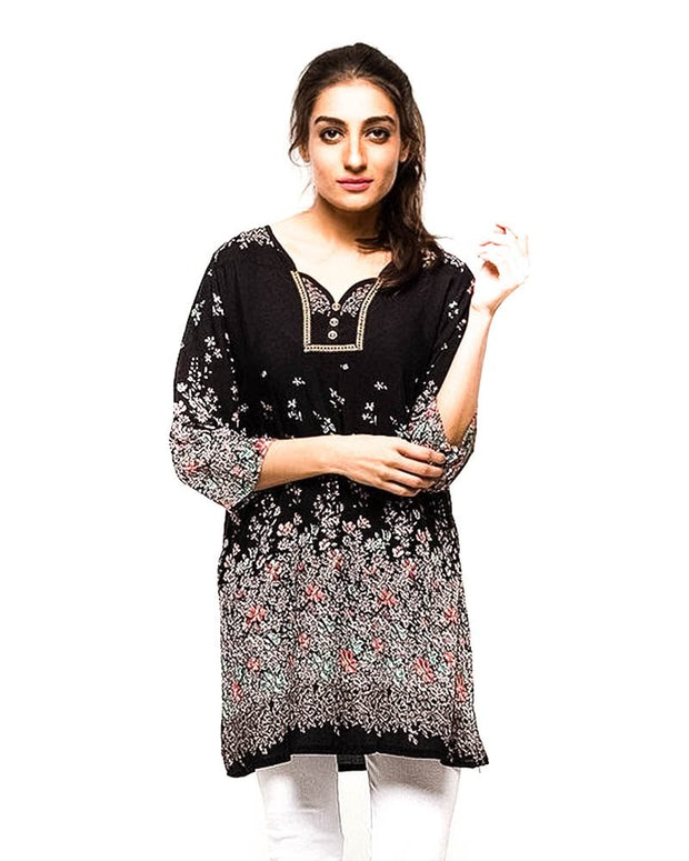 Black Fancy Digital Printed Lawn Kurti FL2150C - For Ladies - Stitched