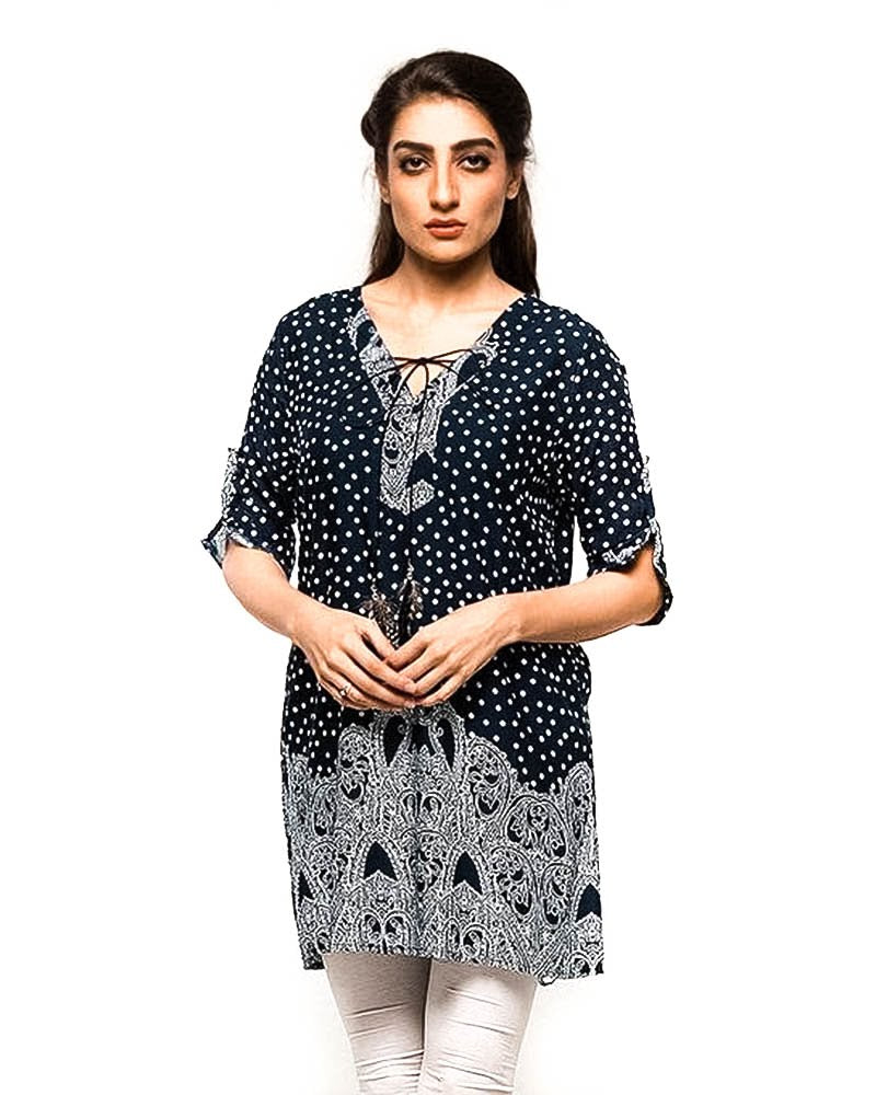 Black Dotted Fancy Digital Printed Lawn Kurti FL2159B - for Office Girls - Stitched