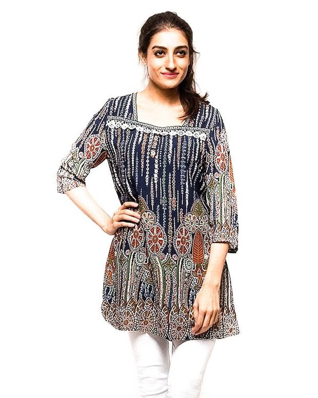Multi Coloured Fancy Digital Printed Lawn Kurti FL2151A - for Office Girls - Stitched