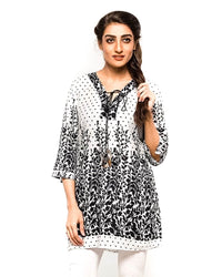 White Fancy Digital Printed Lawn Kurti FL2159A - for Office Girls - Stitched