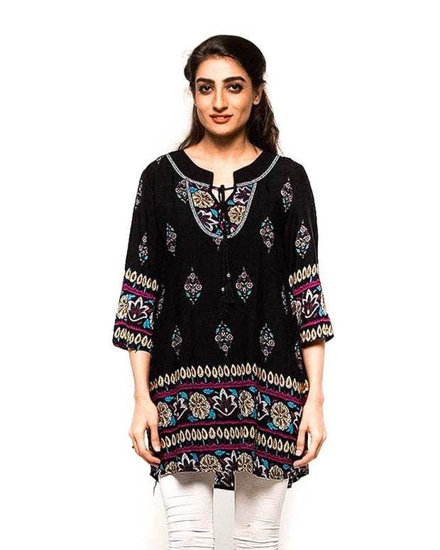 Black Fancy Digital Printed Lawn Kurti FL2153A - for Women & Office Girls