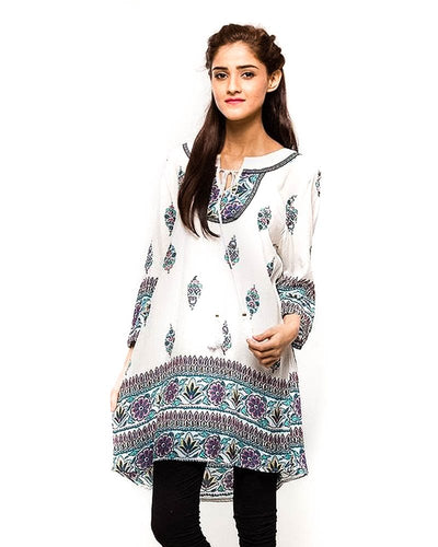 White Fancy Digital Printed Lawn Kurti FL2153A - for Women & Office Girls