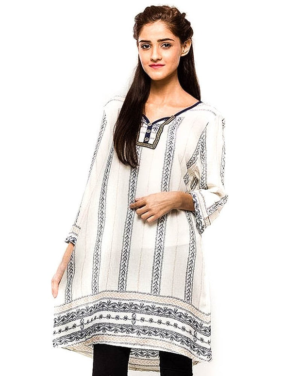 White Fancy Digital Printed Lawn Kurti FL2150A - for Women & Office Girls - Stitched