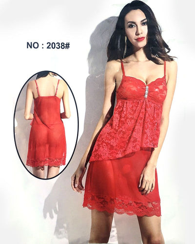 Red Sleeveless Short Net Nighty - 2038 - Nighty - diKHAWA Online Shopping in Pakistan