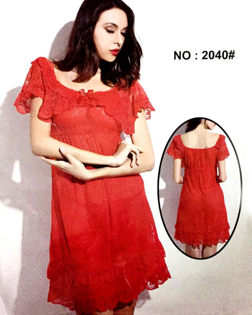 Red Sexy Short Style Nighty - 2040