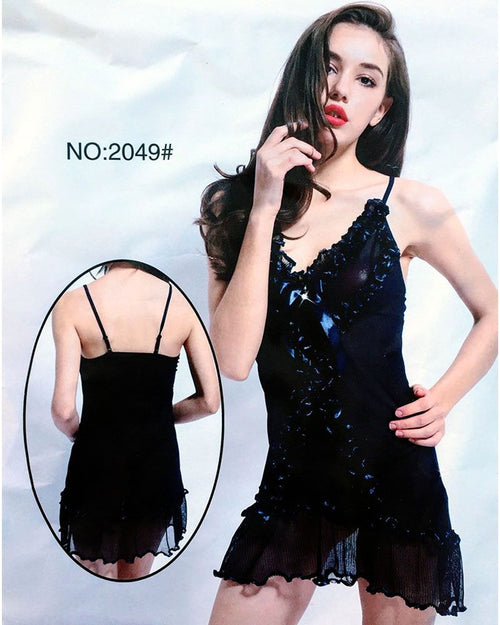 Sexy Lace Fur Short Nighty  - 2049